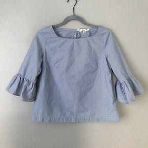 Madewell pinstripe ruffle sleeve blouse